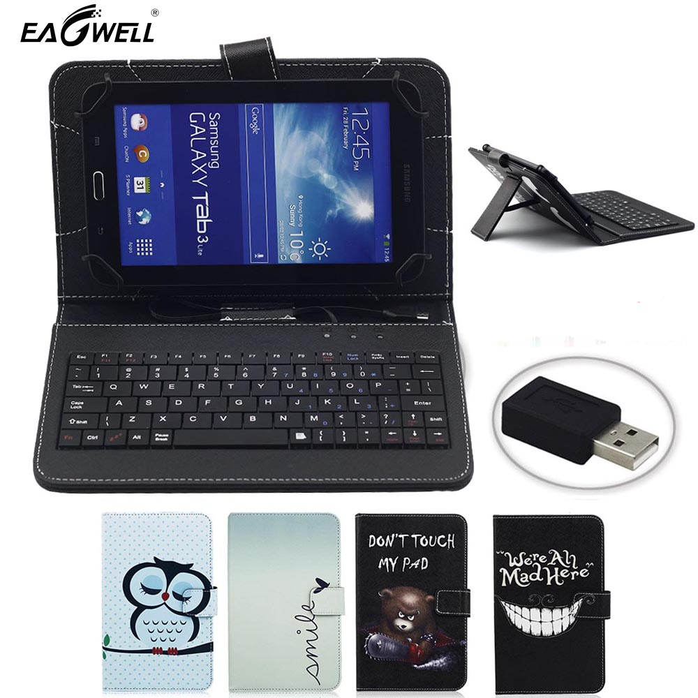 Eagwell Universal 7 inch PU Leather Case Cover With USB Keyboard For Android Tablet PC For Samsung Tab For Lenovo Tablet PC stylish wire 80 key keyboard pu stand cover case for 7 tablet pc w micro usb pink black