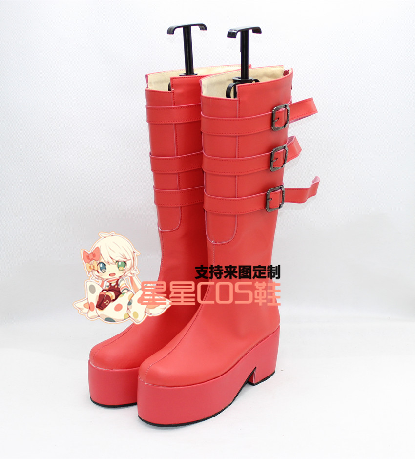 ONE PIECE Perona Anime <font><b>Lolita</b></font> <font><b>Red</b></font> Cosplay <font><b>Shoes</b></font> Boots X002 image