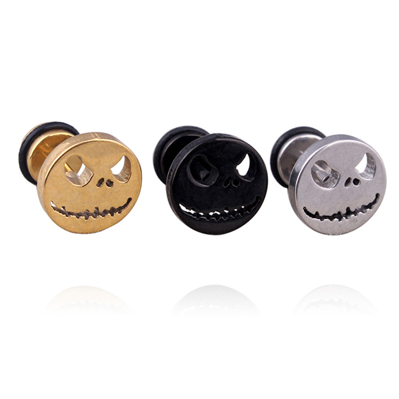 1Pcs 3 Colors  Skull Ghost Face Fake Ear Stud Retro Gothic Punk Style Earrings Women Fashion Jewelry Gift