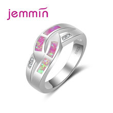 JEMMIN Fashion Pink Fire Opal Rings 925 Sterling Silver For Women/Lover Gift Hot Sale Fashion Jewelry Elegant Wedding Rings(China)