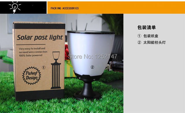 3.7V 2000mAh lithium battery 100% solar powered Lamps Outdoor LED Pillar Garden Yard Ray sensor activated night light
