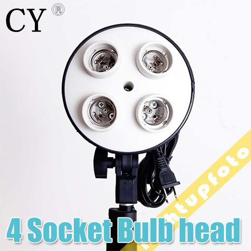 Lightupfoto Photography lighting 4 Socket Lamp holder Photo Studio 4 x E27 Socket Bulb Holder for studio accessory PSCSB2