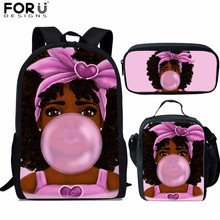 FORUDESIGNS Primary Children School Bags Cute African Afro Princess Prints Kids Backpack Girls Women Book Bag 3PCS/Set Schoolbag цены онлайн