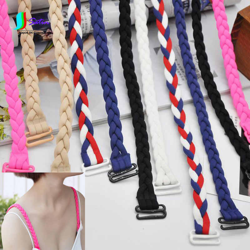 Candy Colors Hand Weavied Personalized Twist Pigtail Bra/Anti-slip Underwear Shoulder Strap Elastic Band,Length 28CM S0019J