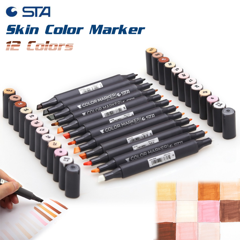 STA 12 Colors Artist Skin Alcohol Based Markers Twin Tip Sketch Marker Pen Drawing for Manga Cartoon Character Flesh Color Pens superior 60 80 218color dual soft head artist sketch marker alcohol based markers manga pen for artist drawing supplier