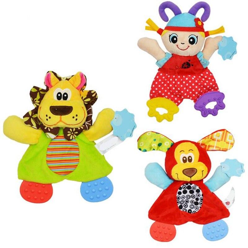 Sonajeros de juguete para bebé con diseño de animales de dibujos animados, sonajeros de juguete, muñeco de peluche de juguete para bebés, 20% de descuentoappease toweltowel animalcat animal -