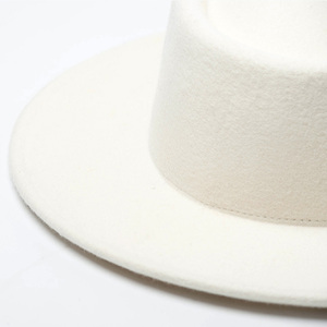Image 5 - 여자 100% 양모 펠트 모자 화이트 와이드 브림 페도라 웨딩 파티 교회 모자 돼지 고기 파이 페도라 모자 플로피 더비 트리비 모자 기지