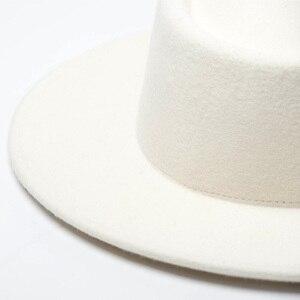 Image 5 - Women 100% Wool Felt Hats White Wide Brim Fedoras for Wedding Party Church Hats Pork Pie Fedora Hat Floppy Derby Triby Hats Base