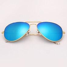 3026 60 мм Винтаж стекло объектива авиации сплошной цвет солнцезащитные очки  Зеркало Пилот солнцезащитных очков очки sol gafas U.. d06625a02d7ee