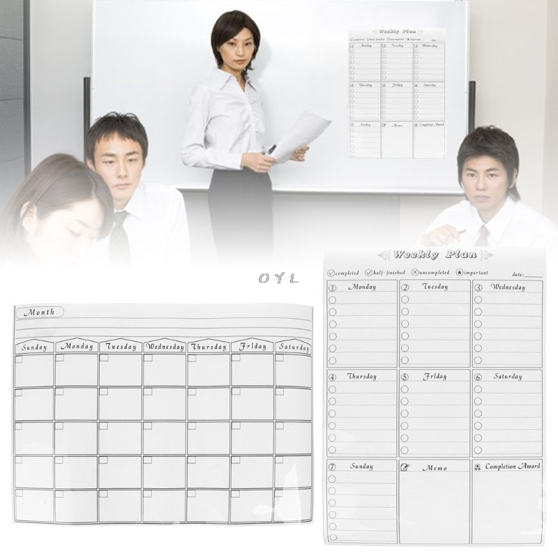 Magnetic Refrigerator Wall Art Sticker Calendar Monthly Weekly Planner White Board Erase For Kitchen 42x30cm