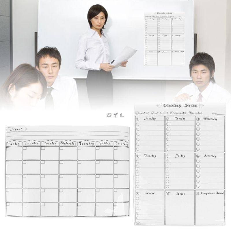 Magnetic Refrigerator Wall Art Sticker Calendar Monthly Weekly Planner White Board Erase For Kitchen 42x30cm