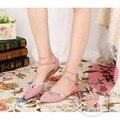 Равнина Микрофибры Твердые Нубук Кожа Нерегулярные Женская Обувь Голубой Открытым Хвостовиком Розовое Платье Обувь Бренд Обуви Женщины Ножной Браслет