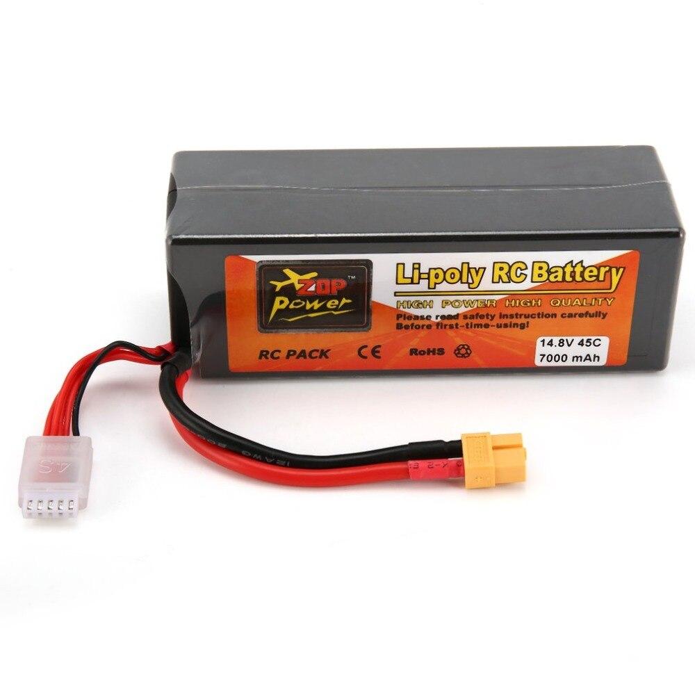 ZOP puissance 14.8 V 7000 mAh 45C 4 S 1 P Lipo batterie XT60 prise Rechargeable pour RC course Drone quadrirotor hélicoptère voiture bateau modèle