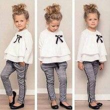Одежда для маленьких девочек Футболка с оборками Топы+ штаны в клетку, комплект одежды с длинными рукавами, осенне-зимняя одежда, костюмы T