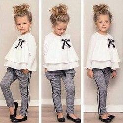Bebê da criança crianças meninas outfits plissado t camisa topos + verificado calças roupas definir mangas compridas inverno outono roupas t #