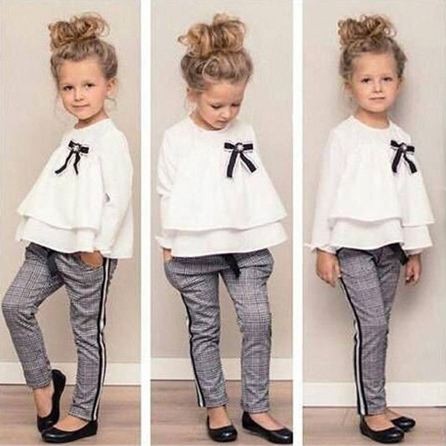 f62ab29ddf89b Toddler Baby Kids Girls Outfits Ruffle T Shirt Tops+Checked Pants Clothes  Set Long Sleeves