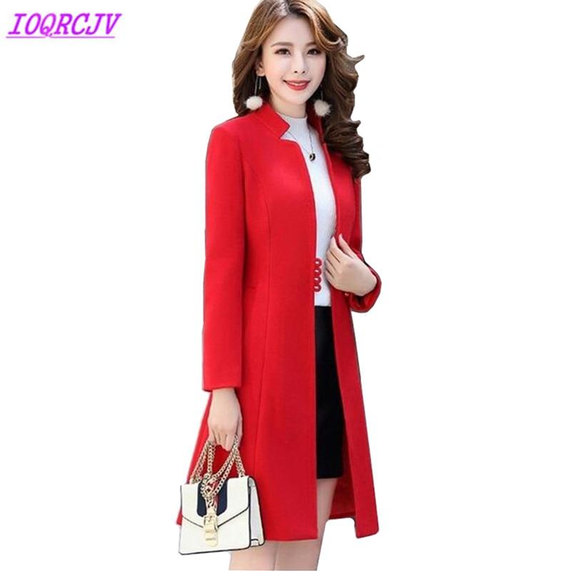2018 Women Autumn Winter Woolen Jackets Fashion solid color Slim Woolen cloth coats Medium length Stand collar Coat IOQRCJV Q062