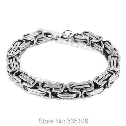Silver Box Chain Motor Biker Bracelet Stainless Steel Jewelry New Cool Classic Motorcycle Biker Men Bracelet SJB0269A