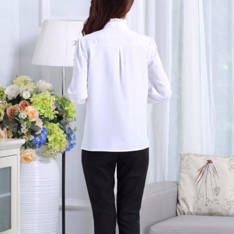HTB1.Qn3NpXXXXcuXpXXq6xXFXXXq - FREE SHIPPING White Blouse Shirt Women Work Wear Long Sleeve JKP092