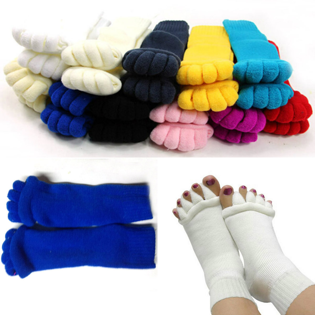 1 Pair Five Toe Socks Fingers Toes Separator Foot Alignment Pain Relief Massage Socks Gift For Woman Health Care 6 Colors