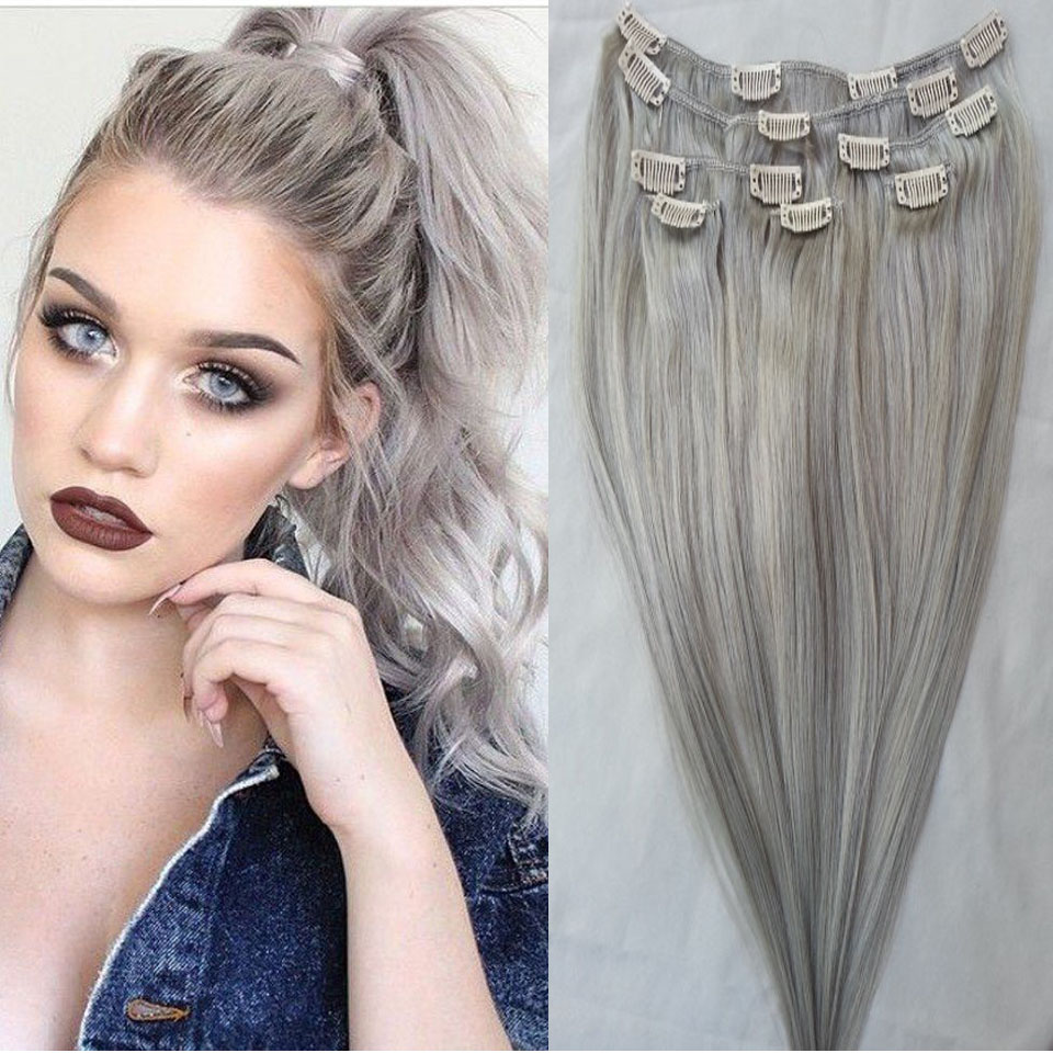 #Gray Clip in Human Hair Extensions 120g/set Peruvian Human Hair Clip In Extensions 7pcs/set Silver Remy Human Hair Clip In