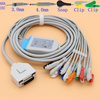 DB15 pins ECG EKG 10 leads cable and electrode leadwire for ECG Fukuda ME KP 500D and C120 patient monitor,Resistance 20K OHM.