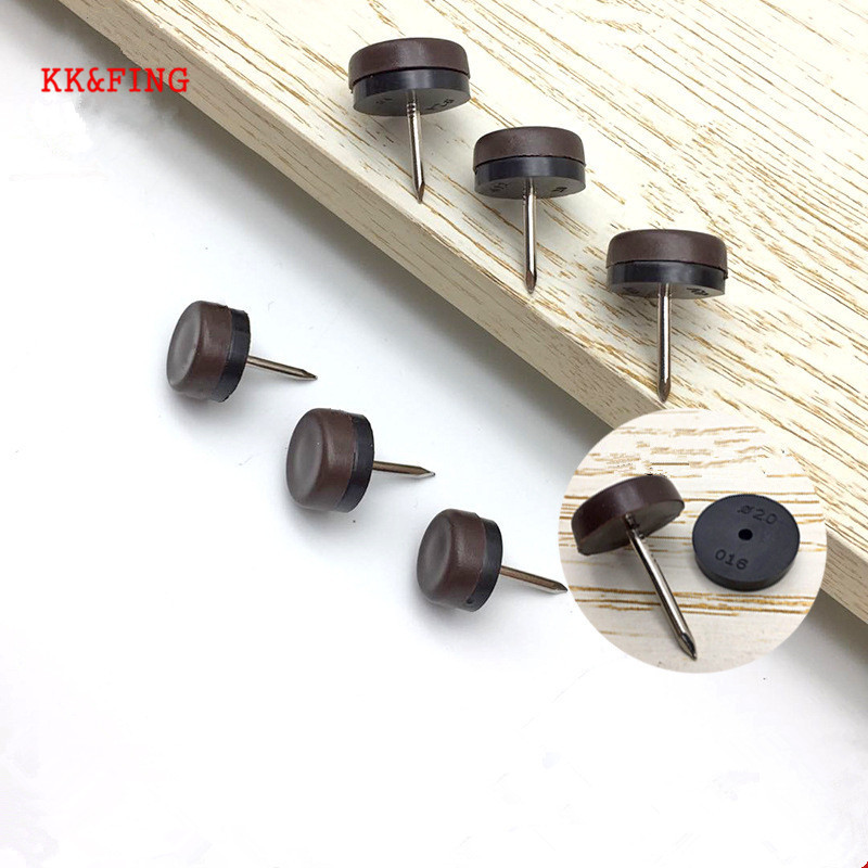 KK&FING 20 PCS Chair Table Furniture Leg Bottom Feet Plastic Pads Glides Skid Nail Wood Floor Furniture Protector Noise Killer