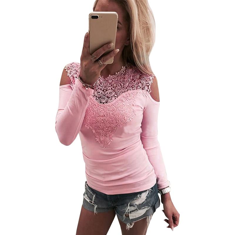 Camiseta de encaje dulce para mujer con hombros descubiertos color rosa ajustada para mujer cuello redondo otoño Casual elegante Tops camisetas ropa de mujer