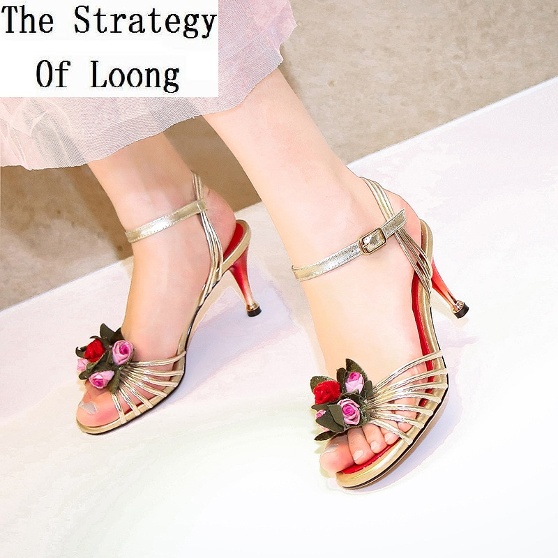 Women Genuine Leather Flowers Thin High Heels Open The Toe Sandals Top Grade Buckle Big Size Summer Shoes Plus Size 34 - 43 1705 handmade genuine leather sandals women shoes lady high quality 2017 summer red silvery closed toe medium heels big size 10 41 42
