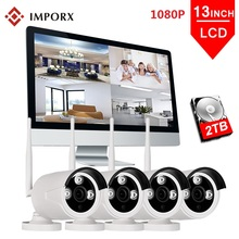 IMPORX 4CH 1080P Wireless 13LCD Monitor NVR Kit 2MP Outdoor Wifi IP Camera Security CCTV System P2P Video Surveillance Sets 3TB кресло garda decor dy 734