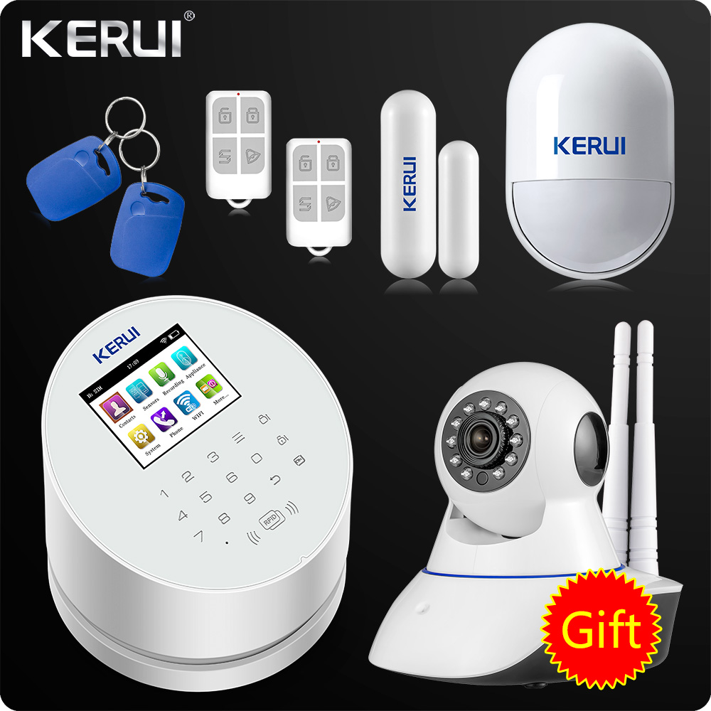 KERUI W2 WiFi GSM Alarm System PSTN RFID Home Security Alarm TFT color LCD Display ISO
