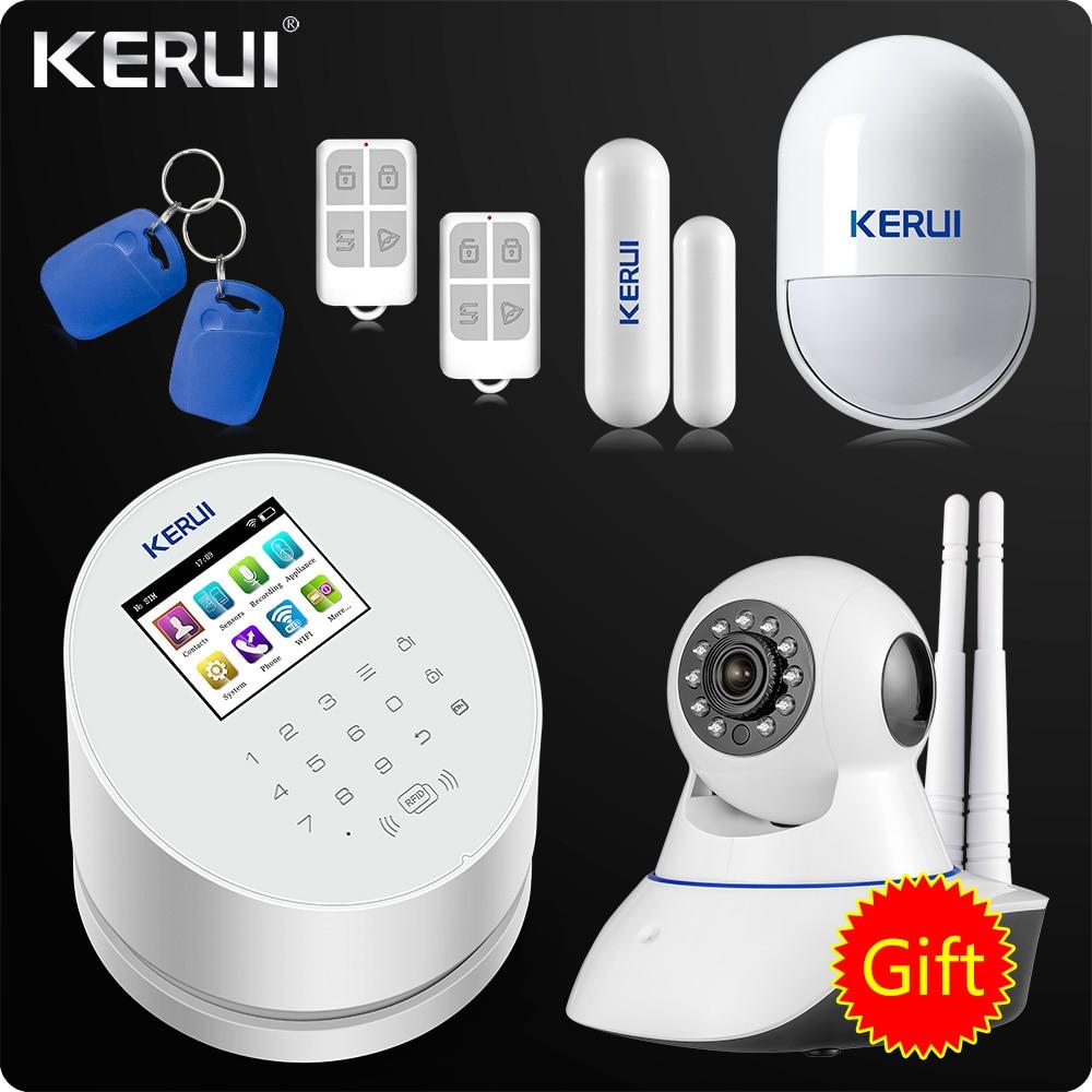 Домашняя охранная сигнализация KERUI W2, WiFi, GSM, PSTN, RFID, TFT цветной ЖК дисплей, ISO, Android App, дистанционное управление, дверь