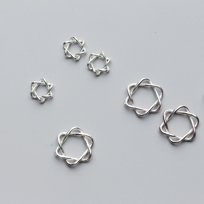 925 Sterling Silver Craft Star Connectors 10mm 13mm Fashion Choker Beads Charm Fit Original Charm Bracelet Necklace Jewelry Gift