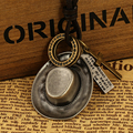 1 PCS Declaração Vintage Colar Gênio PU Corda De Couro Liga de Cobre Cap Cruz Círculo Pingentes & Colar para Mulheres e Homens presente
