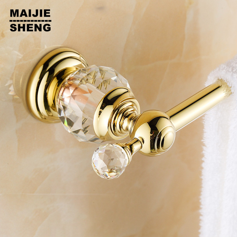Free shipping bathroom Brass & Crystal Golden Single Towel Bar,Towel Holder, Towel Rack, Bars Products,Bathroom Accessories free shipping brass & stone golden towel rack gold towel bar towel holder cy008s
