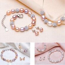Strieborný perlový náhrdelník náušnice náramok 2farby Silver Pearl Jewelry Set