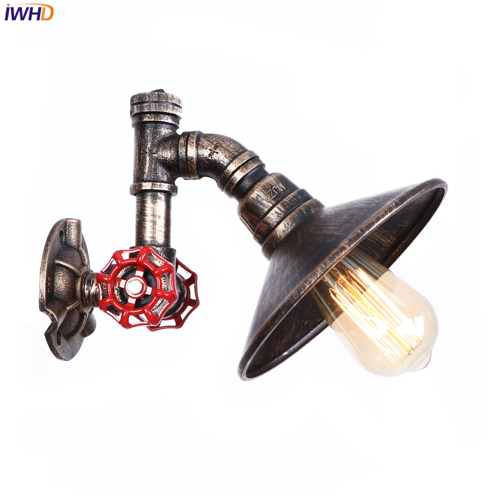 Iwhd Water Pipe Retro Vintage Ceiling Light Fixtures: IWHD Nordic Loft Style LED Wall Lamp Retro Iron Water Pipe