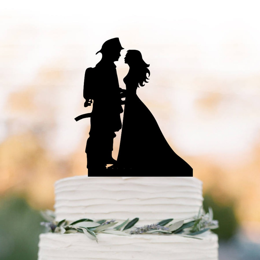 Feuerwehrmann Brautigam Und Braut Silhouette Hochzeit Kuchen Topper