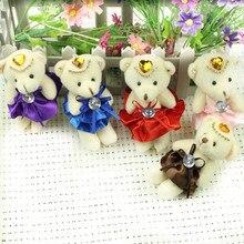 Lovely 20pcs/lot Kawaii 10CM Small Teddy Bears Stuffed Plush Toy Teddy-Bear Mini Bear Ted Bears Plush Toys Wedding Gift Keychain