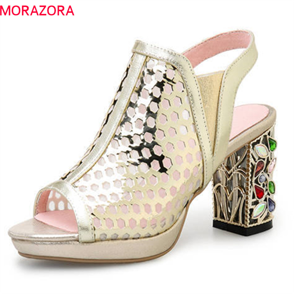 MORAZORA 2020 new fashion women sandals peep toe genuine leather summer shoes slip on platform party
