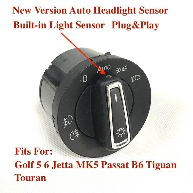 BODENLA Yeni Sürüm Far Anahtarı Dahili Otomatik Işık Sensörü VW Golf 6 Için MK5 MK6 Jetta 5 MK5 Tiguan Passat b6 Touran