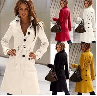 New Arrival 2014 Fashion Solid Slim Sibfle Breasted Female Coats Autumn Winter Hot Women Coat 4