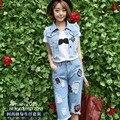 2015 летнее платье мода Корейский Дамы Денима Жилет Куртка носить брюки личности двух частей