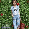 The 2015 summer dress fashion Korean Ladies Denim Vest Jacket worn pants personality two piece