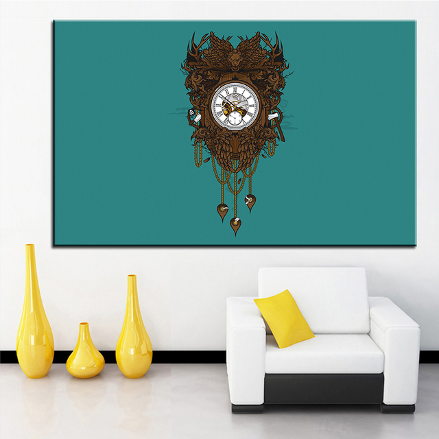 Us 19 99 Wall Large Size Printing Oil Painting Clock Vector Wall Painting Decor Wall Art Picture For Living Room Painting No Frame In Painting