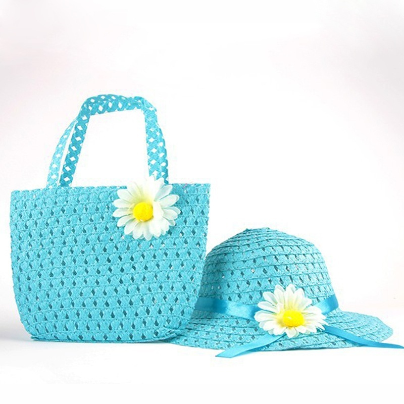 4 Colors Summer Sun Hat Girls Kids Straw Hat Cap Children Beach Hats Bag Flower Tote Handbag Bags Suit