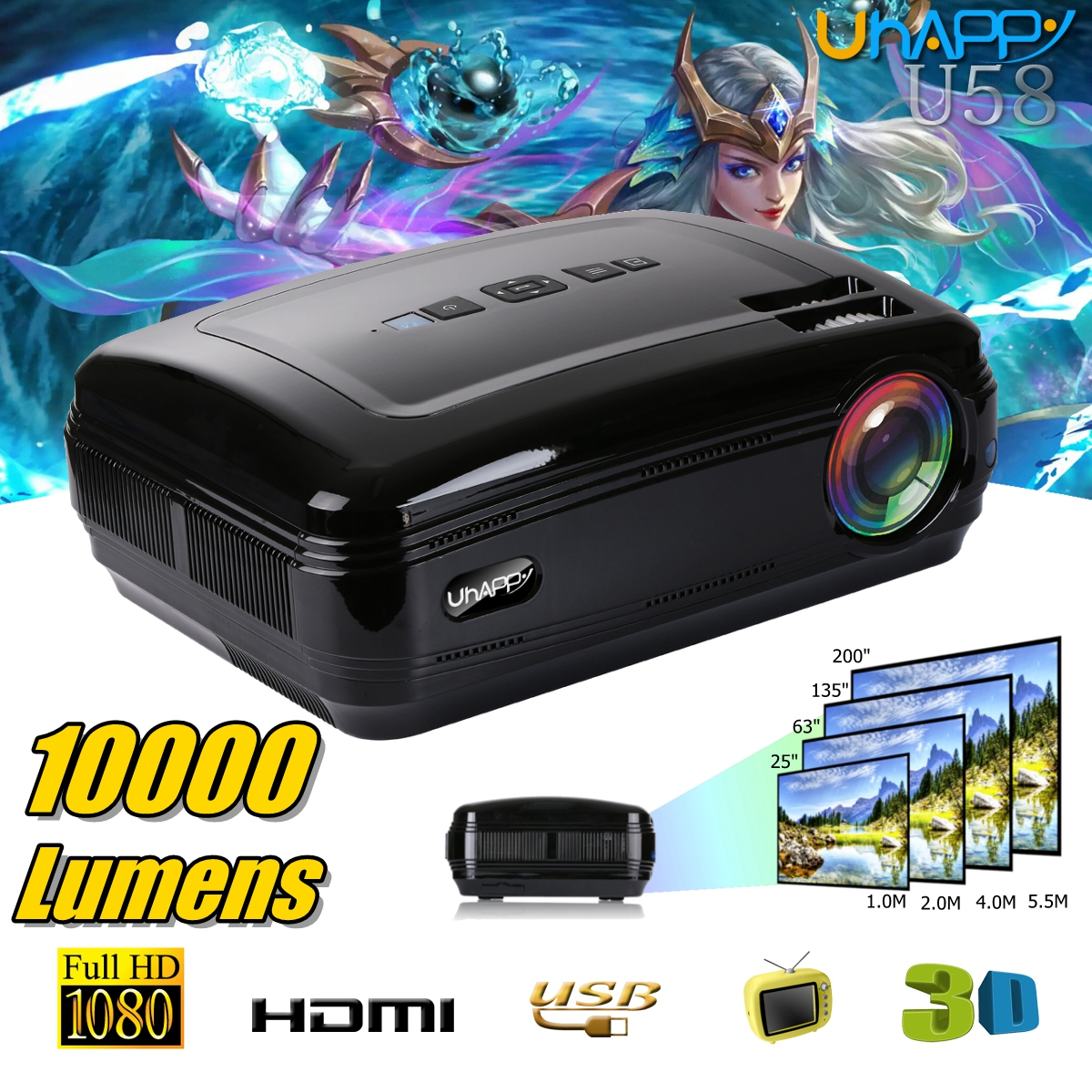 Tv Tuner Projector High Definition Home Theater Wxga Full: 10000 Lumens 1080P 3D LED Home Cinema Theater Projector