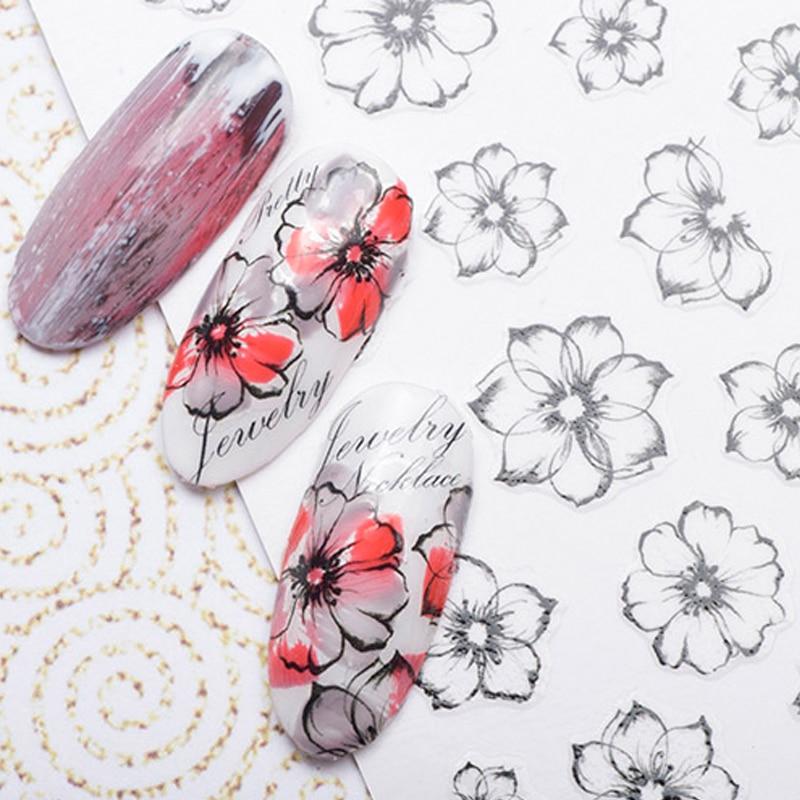 1 ark Akvarel 3D Nail Art Stickers Fading Flower Nail Sticker - Negle kunst - Foto 2