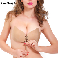 Women Push Up Bra Self-Adhesive Silicone Bust Lace Up Intimates Fly Bras Strapless Invisible Bras Sujetador For Wedding Party