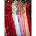 Robe De Soirée Perlas Apliques Moldeados Sin Mangas Pura Rosa/Rojo/Azul Vestidos de Noche Largo Formal Del Partido de Baile de Novia vestidos GD167